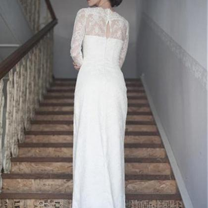 A-line Long Sleeve Lace Wedding Dre..