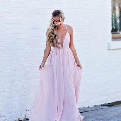 Simple Pink Prom Dress,V-Neck Backl..