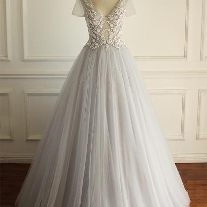 Long Wedding Dress, Tulle Wedding D..