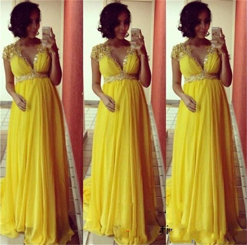 dd9fa34a64662 Long Empire Yellow Pregnant Women Evening Dress, 2018 Chiffon A Line Formal  Prom Dress , Formal Evening Dress For Maternity Women,Sexy V Neck Long Prom  ...