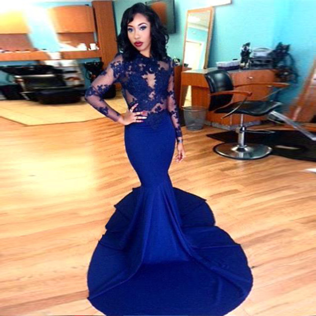 Long Sleeve Prom Dresses 2018 Gorgeous O-neck Top Lace Floor Length Stretch  Satin Mermaid cdf540cf4d3d