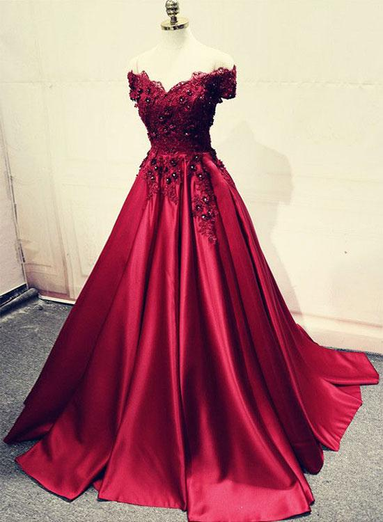 0c6bc2d9a96 Burgundy Lace Off Shoulder Satin Prom Dress