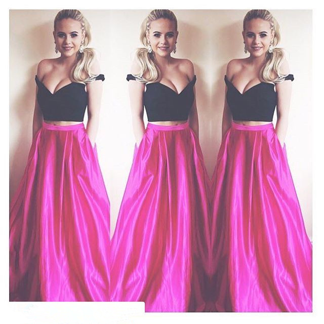 a1907572139f Cute Two Piece Long Prom Dress, Black Off the shoulder Hot Pink Long Prom  Dress