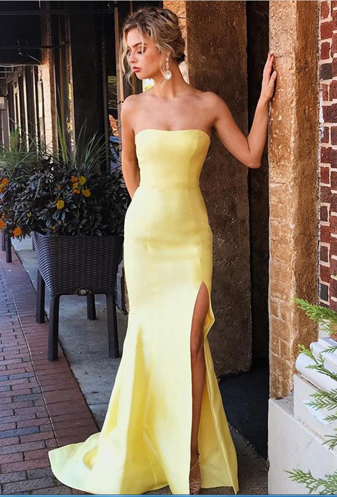Yellow Satin Prom Dresses Long Mermaid Sleeveless Evening Dresses ...