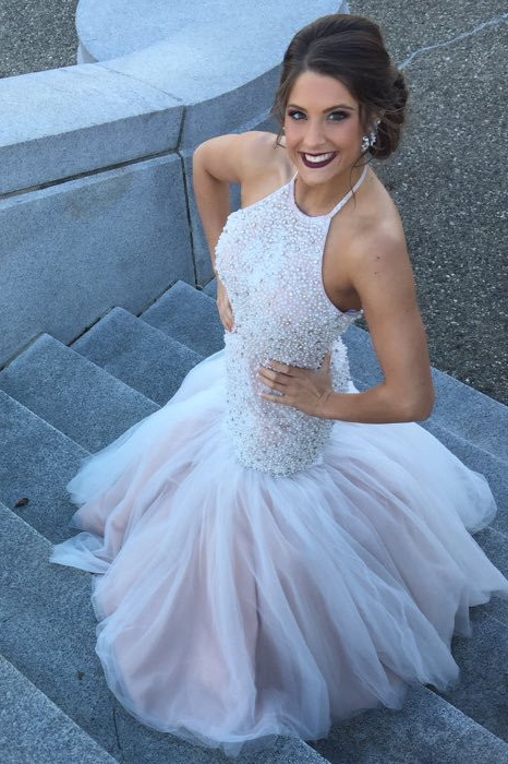2879ae4e04 Gorgeous Halter Mermaid Beads White Long Prom Dress on Luulla