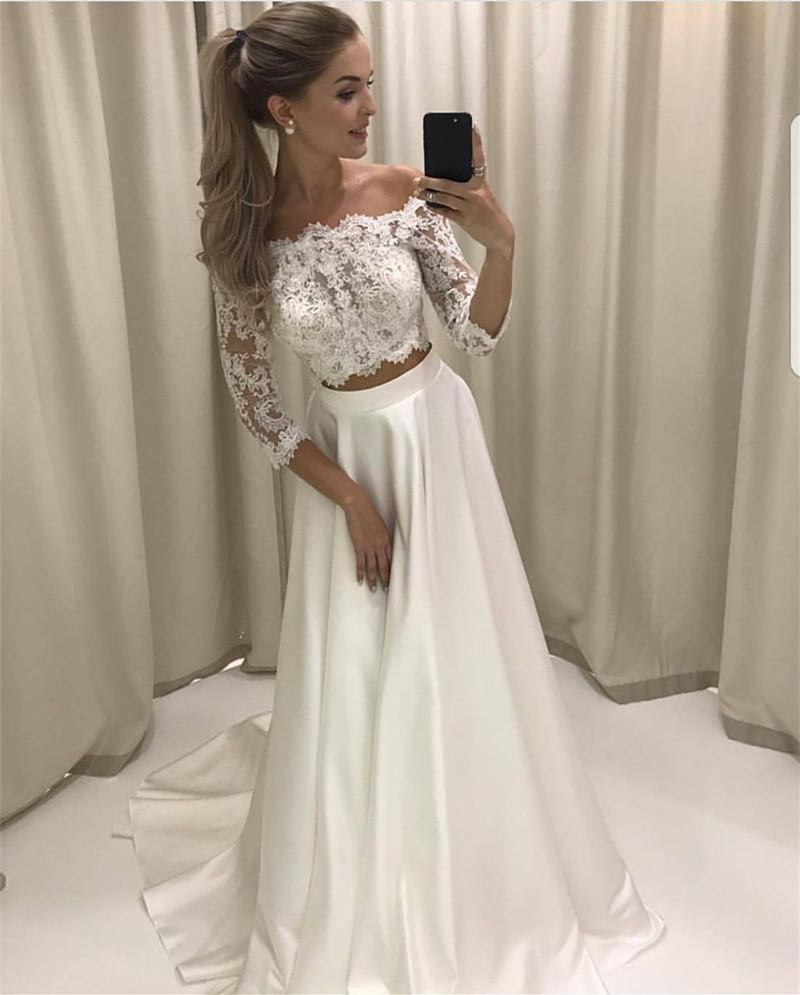 White Lace Prom Dresses, Two Pieces Prom Dresses, Lace Sleeves Prom ...