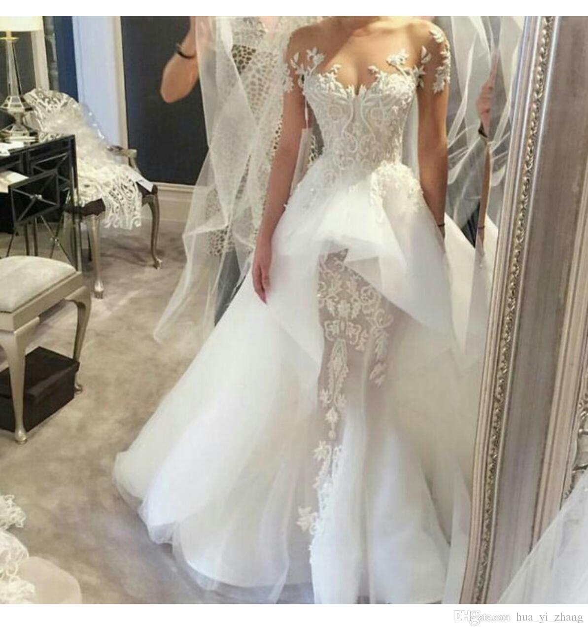 Beautiful Elegant Lace Wedding Dresses Off Shoulder Illusion Beaded Liques Sleeveless Court Train Overskirts Bridal Gowns