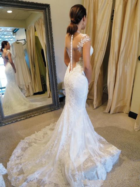 White Wedding Dresses Lace Wedding Gowns Mermaid Perspective Halter ...