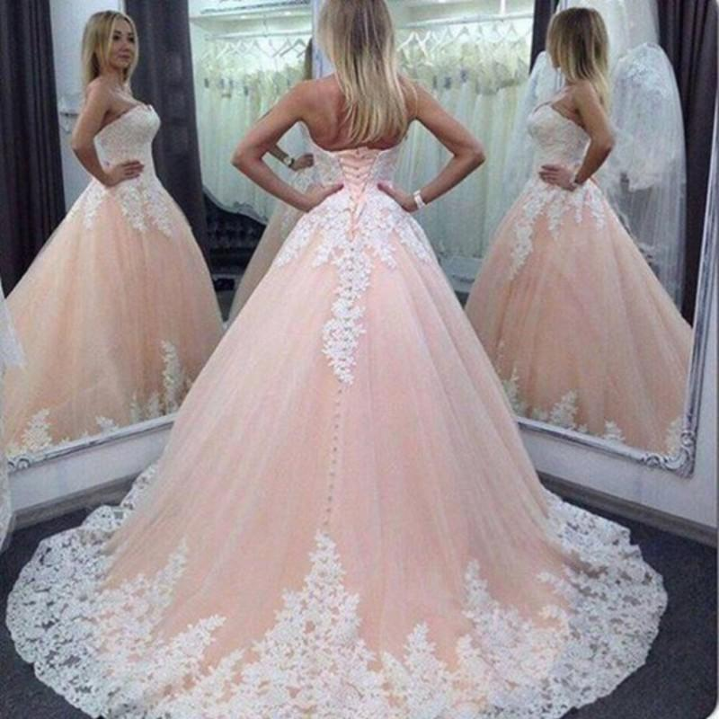 Stunning Strapless Wedding Dresses A LineTop Applique Princess Ball Guest Tulle Chapel Train Quinceanera Bridal Gowns