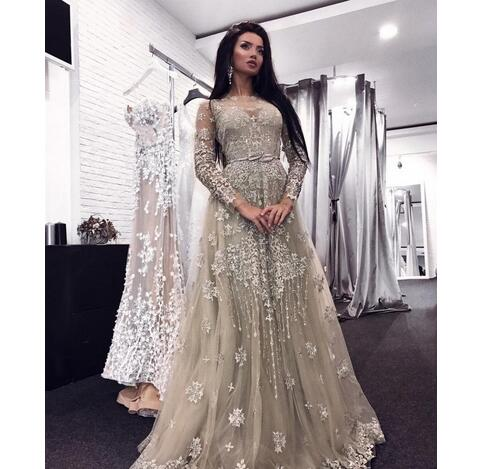 11a8b1877c Sexy Sheer Neckline Lace Appliques Beaded Illusion Long Sleeves Floor  Length Formal Party Dress Plus Size