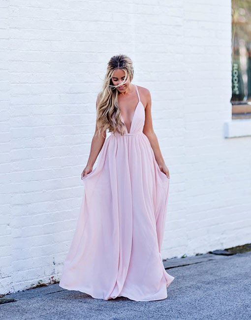 Simple Pink Prom Dress,V-Neck Backless Long Prom Dress,Chiffon Evening Dresses