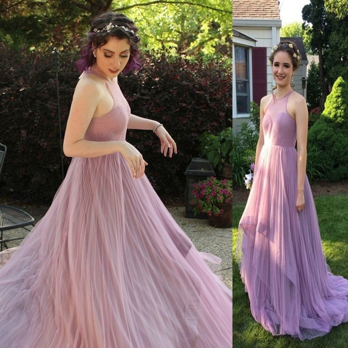 Sleeveless Sweep Train Tiers A-line Tulle Prom Dresses