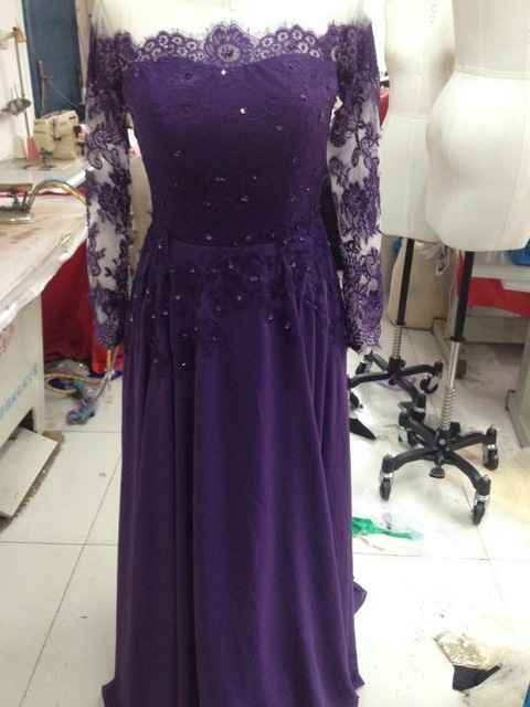 Charming Prom Dress,Long Sleeve Prom Dresses,Chiffon Prom Dress,Sexy Prom Party Dress F346