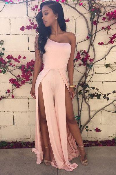 One-Shoulder Chiffon Jumpsuit with High Slits for Prom, Formal Event