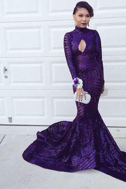 Grape Prom Dress,Mermaid Prom Dress,Long Sleeve Prom Dress,Fashion Prom Dress,Sexy Party Dress,Custom Made Evening Dress