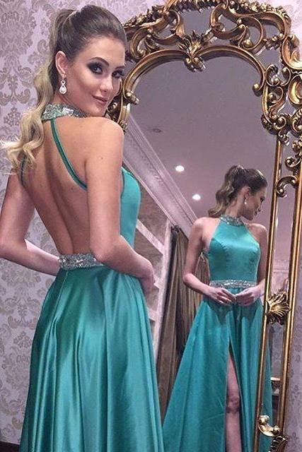 2018 Prom Dress, Sexy Prom Dresses, Green Backless Prom Gown, Long Party Dress, Sexy Side Split Prom Dress, Open Back Evening Dress, Woman Dresses