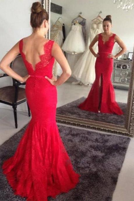 Sexy Mermaid Lace Prom Dresses Backless Floor Length Party Dresses Custom Made 2016 Women Dresses