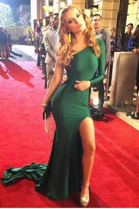 Hunter Green One Shoulder Elegant Party Dress,Long Sleeves Split sexy Evening Dresses,Long Mermaid Prom Dress with Pleats,Prom Dresses