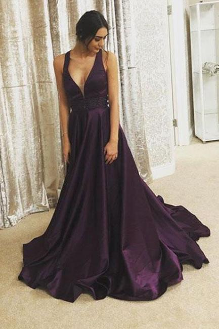 Purple v neck long prom dress, purple evening dress