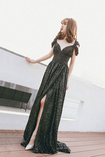 Black Prom Dresses,off shoulder Prom Gown,Sequin Prom Dresses,Long prom dress,Black Evening Dress