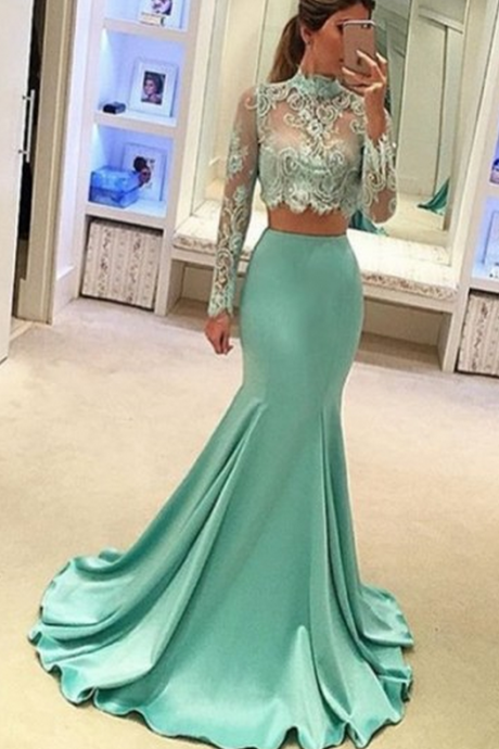 Charming Prom Dress, Sexy Long Sleeve Appliques Prom Dresses , Long Evening Dress, Homecoming Dress