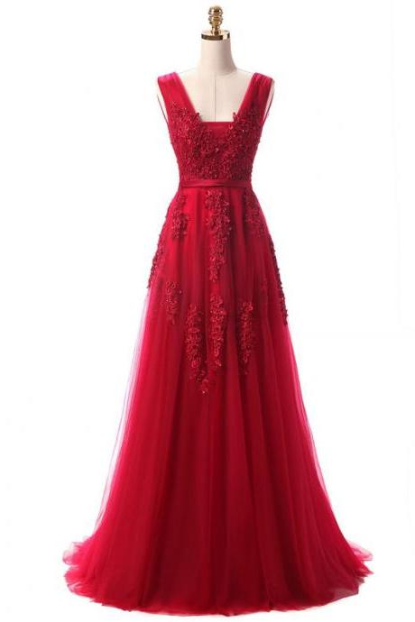 Red Long Party Gown 2018, Red Charming Tulle Party Dress, Formal Dresses