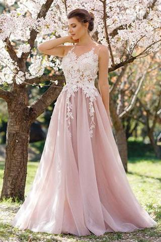 light pink lace applique long prom dress, evening dress
