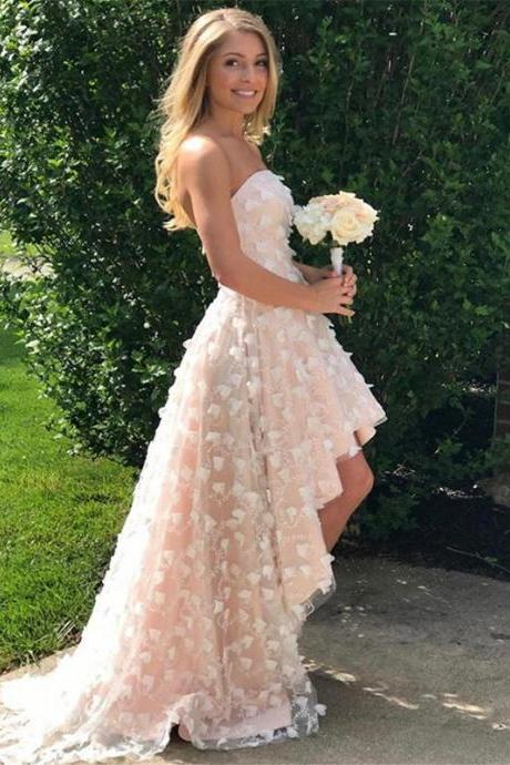 High low prom dresses,champagne prom dress,lace prom dresses,strapless prom gowns