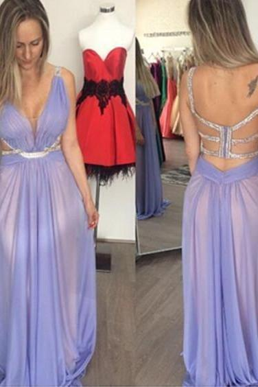 Satin Chiffon Spaghetti Straps Evening Dress Discount Sleeveless Floor-Length Backless Beading A-Line Evening Dress
