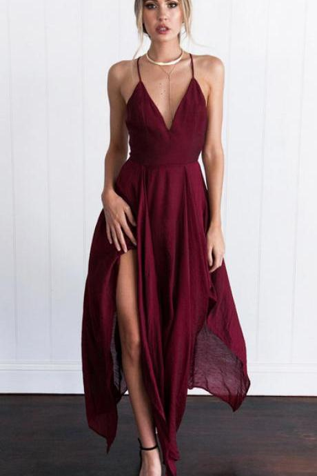 Plunging V Spaghetti Strap Prom Dress, Evening Dress Featuring Irregular Hem and Crisscross Back