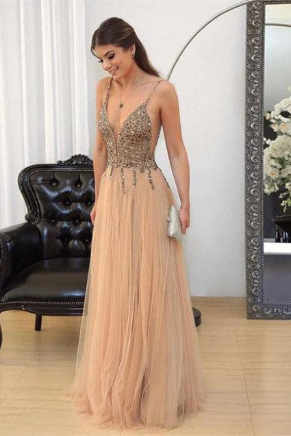 Charming Prom Dress,Tulle vening Dresses,Beading Prom Dresses,A-Line Prom Gown
