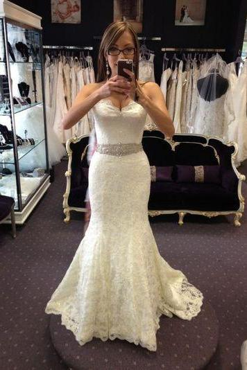 Ivory Mermaid Lace Wedding Dresses Sweetheart Neck Women Bridal Gowns