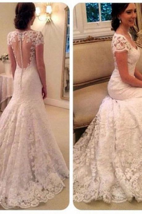 Custom White/Ivory Cap Shoulder Lace Full Length Wedding Dress Bridal Gown