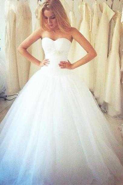 Ball Gown Wedding Dress,White Tulle Wedding Dresses,Long Bridal Gown Dress