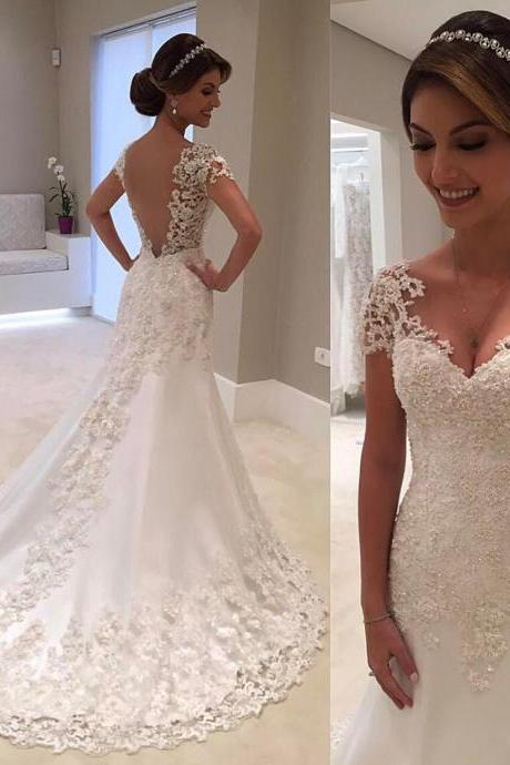 Vintage Lace Cap Sleeves Nude Back Princess Wedding Dresses 2018