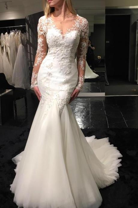 Vintage Long Sleeve Wedding Dress,See Through Wedding Dress,Sexy Mermaid Wedding Dress,Lace Wedding Dress,High Quality Wedding Dress,New Style Bridal Dress,2018 Wedding Gowns