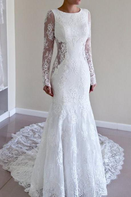 Round Neck Lace Sheer Cutout Mermaid Long Wedding Dress with Long Sleeves
