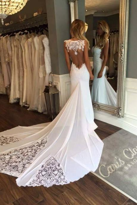 Sexy Long Train Wedding Dress