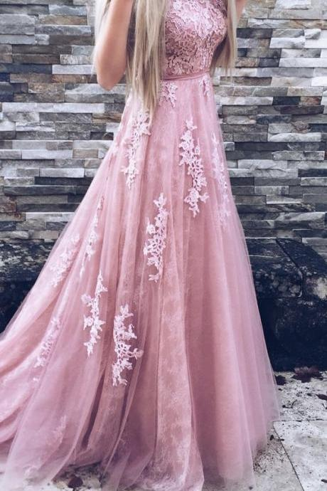 Charming Prom Dress,Tulle Prom Dress,A-Line Prom Dress,Appliques Evening Dress