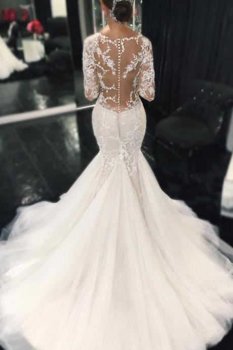 Wedding Dress,Sexy Elegant Wedding Dresses, Sexy Illusion Back Long Sleeves Lace Mermaid Wedding Dresses Custom Made,High Quality Bridal Dresses,Wedding Guest Prom Gowns, Formal Occasion Dresses,Formal Dress