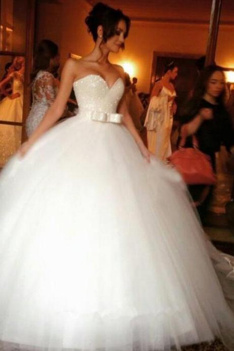 Strapless Sweetheart Beaded Princess Ball Gown, Wedding Gown with Bow Accent