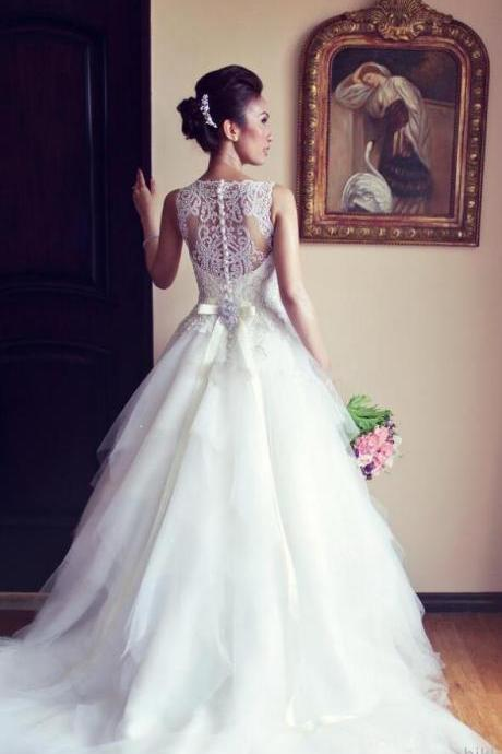 Mermaid Luxury Beaded Wedding Dresses ,Beauty Cheap Tulle Court Train Tulle Wedding Dress,Bridal Gowns