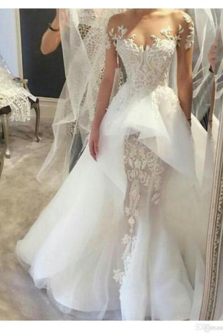 Beautiful Elegant Lace Wedding Dresses Off Shoulder Illusion Beaded appliques Sleeveless Court Train Overskirts Bridal Gowns