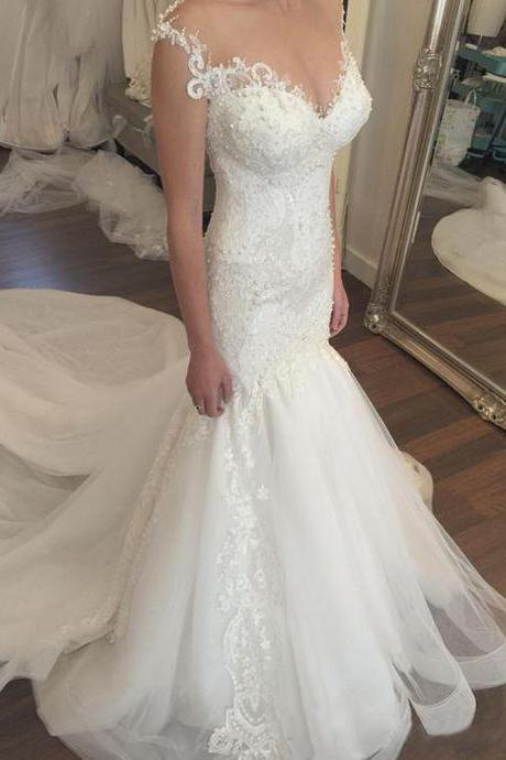 Wedding Dresses Mermaid Beaded Bodice Illusion Sheer Neck Buttons Covered Back Elegant Formal Bridal Gowns Court Train