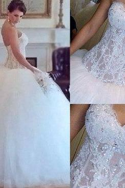Gorgeous wedding dress,white wedding dress,lace wedding dress,handmade wedding dresses,bridal gown