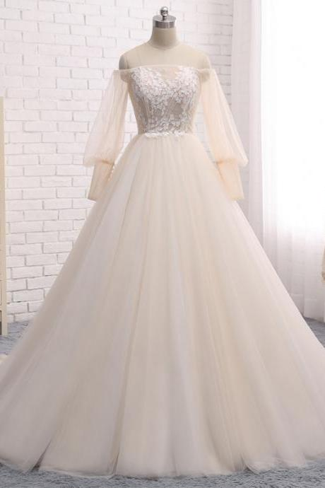 Long Wedding Dress, Long Sleeve Wedding Dress, Tulle Wedding Dress, Off Shoulder Bridal Dress, Charming Wedding Dress, Applique Bridal Dress, High Quality Wedding Dress