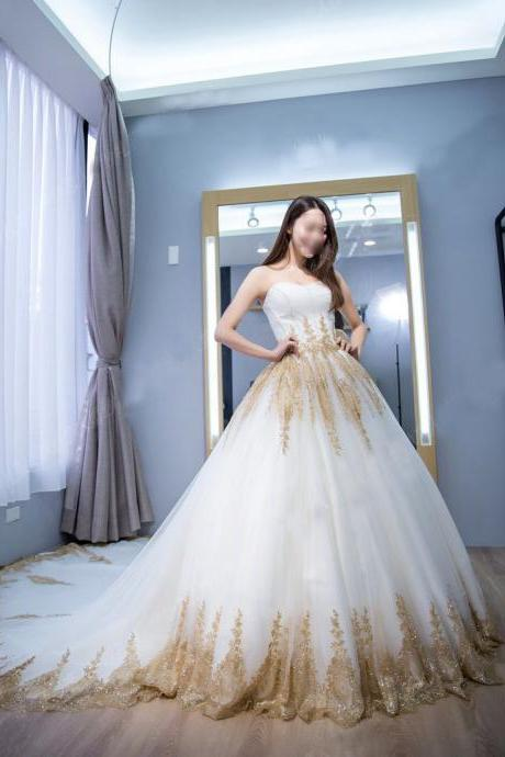 Gorgeous Princess Ball Gown Strapless Court Train White Tulle Wedding Dress with Gold Lace,bridal dress,Wedding Gown,Bridal Gowns