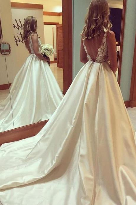 elegant lace appliques open back satin ball gowns wedding dresses 2018 new arrival Princess Bridal Gowns