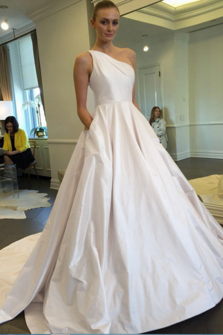 Ivory Satin One-Shoulder Floor Length Wedding Gown Featuring Sweep Train