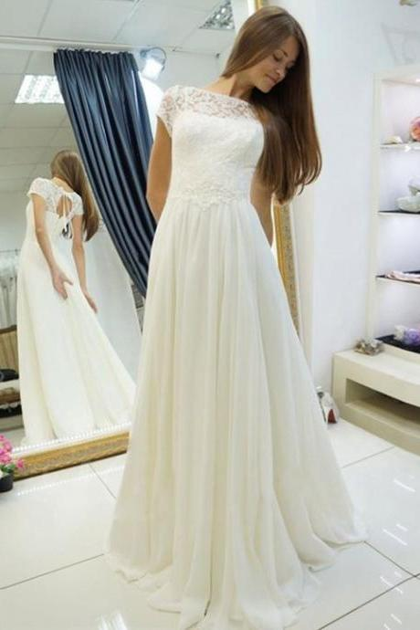 Illusion Bateau Neckline Long Ivory Chiffon Wedding Dress with Keyhole Back